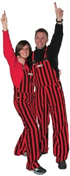 Sit front row and heckle the opposition in our adult Red & Black Striped Game Bib overalls!