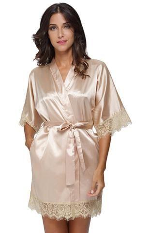 Details zu Plus Size Lace Patchwork Bride Bridesmaids Robe Sexy ...