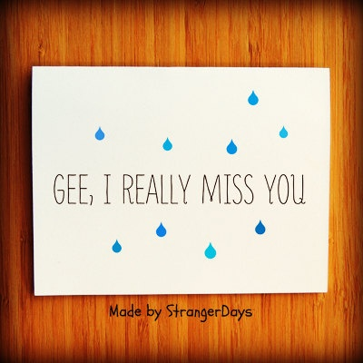 """Missing you Card """" Gee, I really Miss you """" Greeting Card. I miss you Card. Long Distance Relationship Card.. $3.50, via Etsy."""