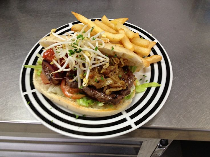 Steak on Turkish Roll with Chips