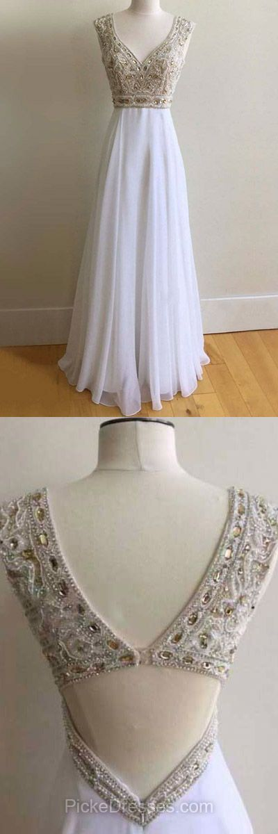 White Prom Dresses Long, 2018 Formal Party Dresses A-line, V-neck Evening Dresses Chiffon with Beading, Backless Pageant Dresses Cheap