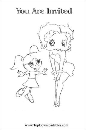 baby betty boop coloring pages download and print betty boop theme party greeting card coloring - Betty Boop Coloring Pages Birthday