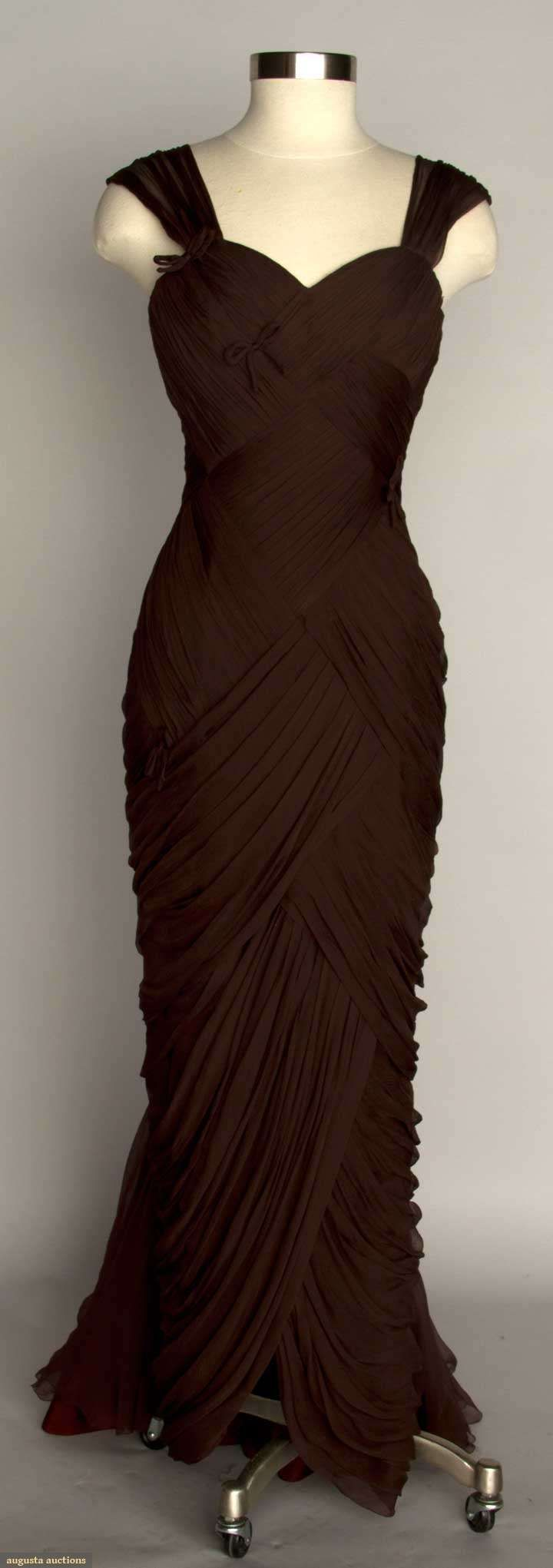 ~Draped Chiffon Evening Gown, C. 1950, Augusta Auctions~  #1950s  #eveningwear  #black