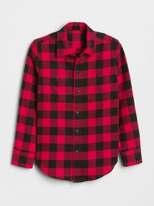 5feb3c8444cf51 Gap Boys Buffalo Plaid Flannel Shirt Modern Red   Products in 2019 ...