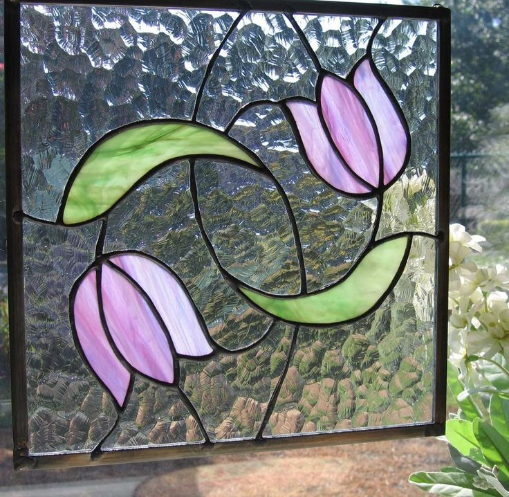 Swirling Tulips Stained Glass Panel by Nanantz on Etsy, $95.00                                                                                                                                                                                 More