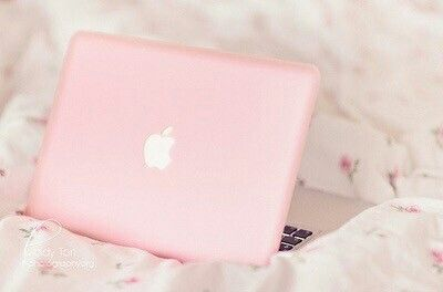 Imagine pink, apple, and laptop