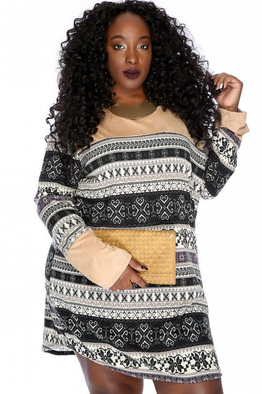 Sexy Camel Grey Printed Pattern Long Sleeves Casual Cute Plus Size Dress