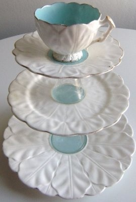 DIY tiered trays. I love the idea of a cup on top, or even a small dessert bowl of some variety.