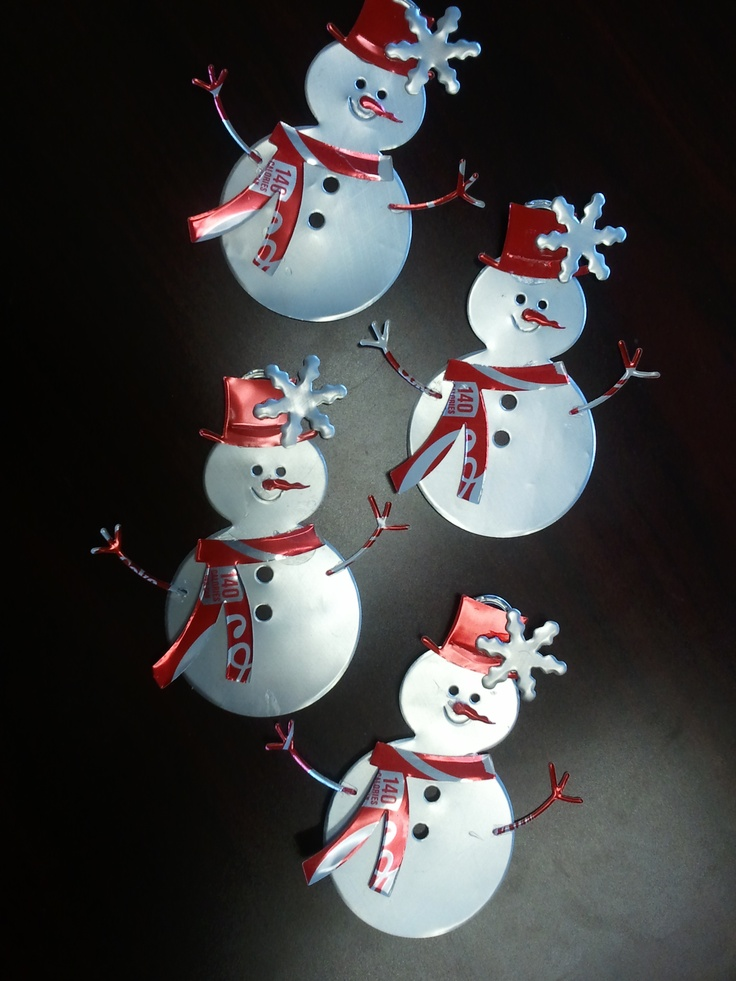 Recycled Snowmen (Coca-Cola Cans & the Tab) ~   Soda Can Ornaments with a Snowflake 2012 Project