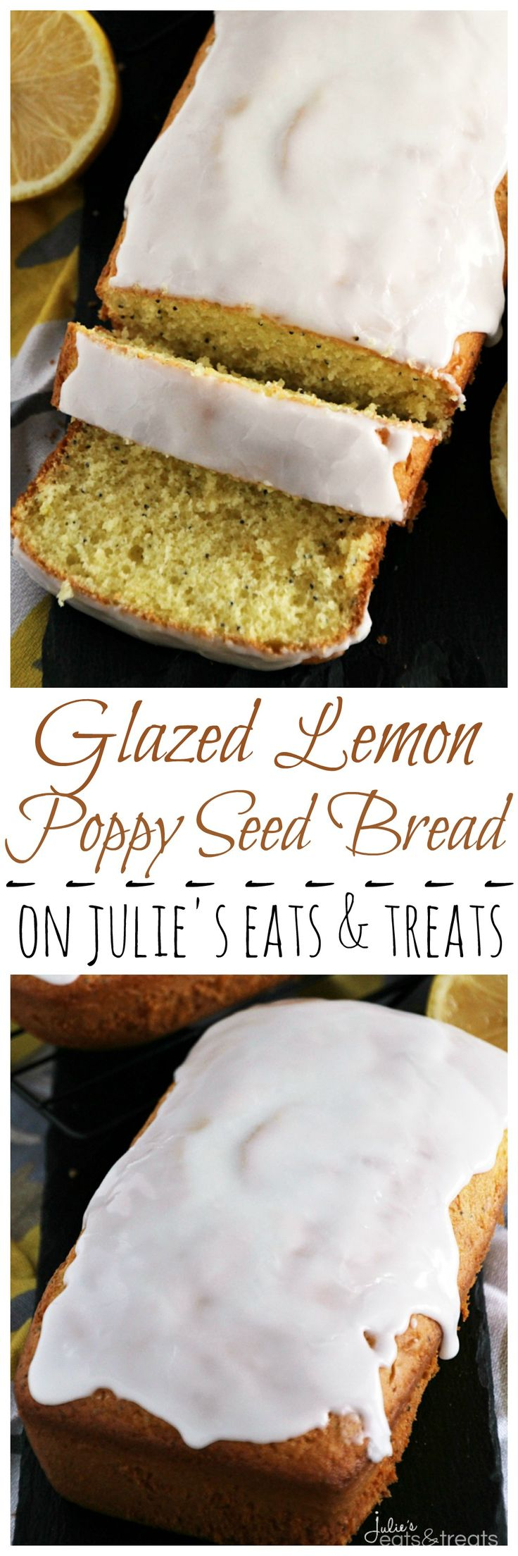 Glazed Lemon Poppy Seed Bread ~ Quick & Easy Lemon Bread with Poppy Seeds! Topped off with a Delicious Lemon Glaze! ~ http://www.julieseatsandtreats.com