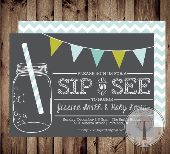 Sip and See Invitation BABY SHOWER invitation baby by T3DesignsCo