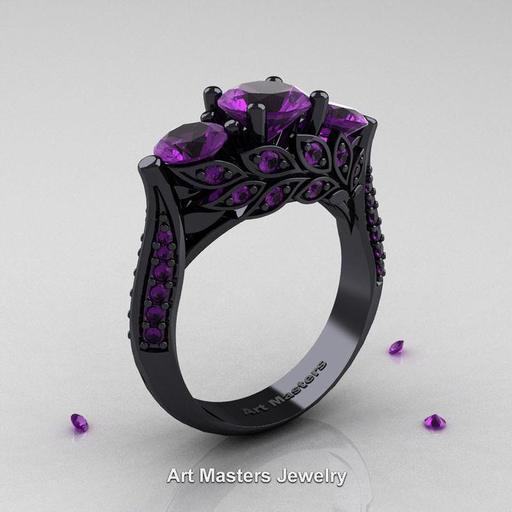 Nature Classic 14K Black Gold Three Stone Lavender Amethyst Laurel Leaf Engagement Ring R800-14KBGAM | ArtMastersJewelry