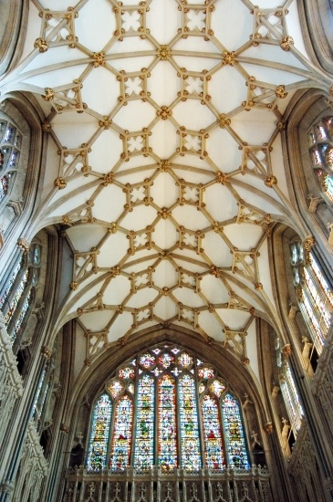 Lierne vault of the choir, 14th century. Wells Cathedral, Wells, Somerset - UK