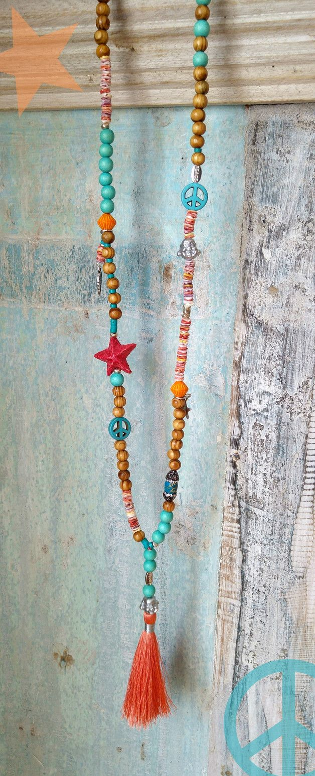 Ketten lang - Kette ★ Buddha ★ orange Quaste Holzperlen - ein Designerstück von charm_one bei DaWanda