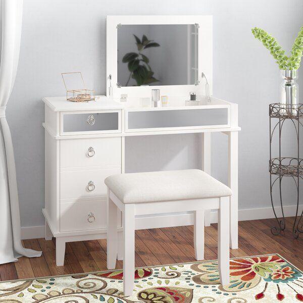 Kemmerer Vanity Set With Mirror In 2020 Vanity Set With Mirror Small Vanity Table Vanity