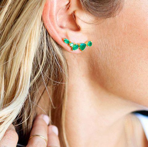 Wing Green Onyx Ear Climbers