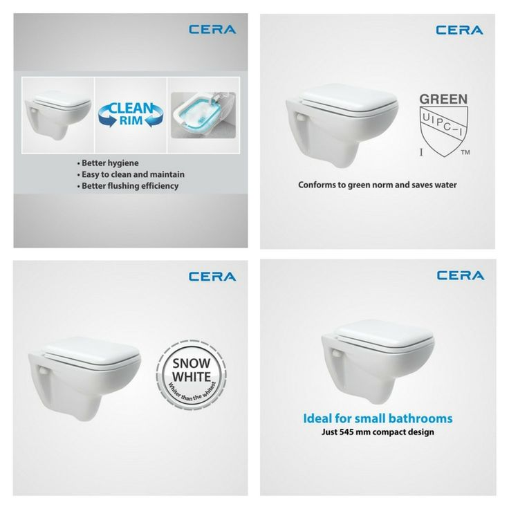Campbell 2011 CR provides for better hygiene, easy cleaning and better flushing efficiency to save water. Get the wall hung EWC to adorn your bath space. #CERA #ReflectsMyStyle #EWC #CleanRim #SaveWater