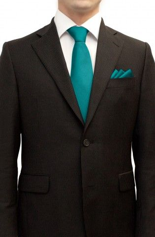 Turquoise Teal Tie and Pocket Square Set - Shop By Color