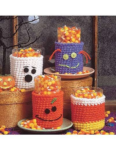 Halloween Glass Cozies  Decorate your home with these Halloween cozies for that scary night!  free PDF from free-crochet.com