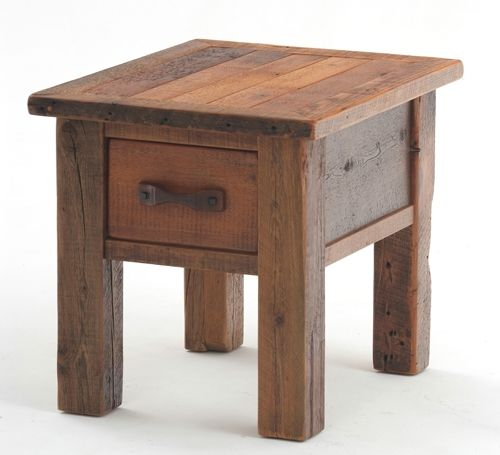 End Table Barnwood One Drawer