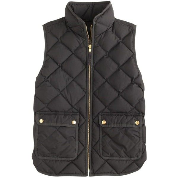 J.Crew Excursion Quilted Down Vest (£120) ❤ liked on Polyvore featuring outerwear, vests, jackets, coats, tops, zipper vest, quilted vest, lightweight down vest, slim vest and down filled vest