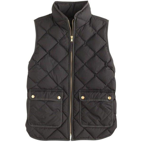 J.Crew Petite Excursion Quilted Down Vest ($160) ❤ liked on Polyvore featuring outerwear, vests, jackets, coats, tops, petite, slim fit vest, lightweight down vest, vest waistcoat and slim vest
