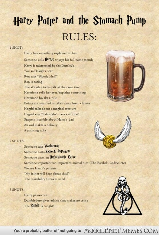 harry potter drinking game - Google Search