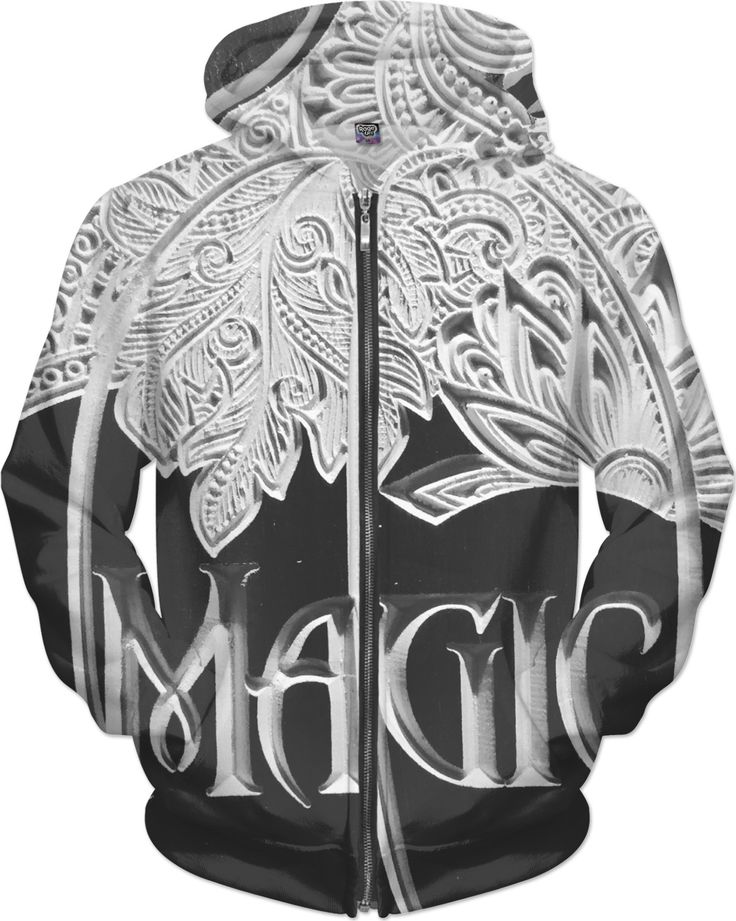 Black and White Hoodie with all over Magic Carving design