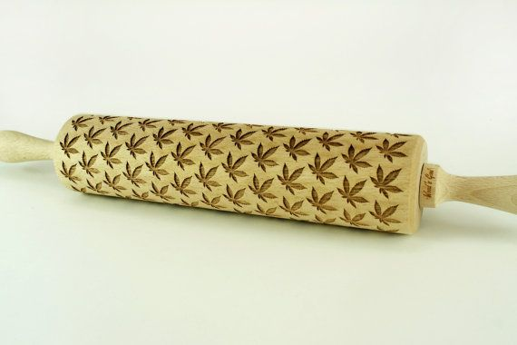 CANNABIS LEAF ROLLING PIN – Embossing wooden rolling pin.  Experience More Joy and Happiness in Your Kitchen!  Create a beautiful and unique CANNABIS