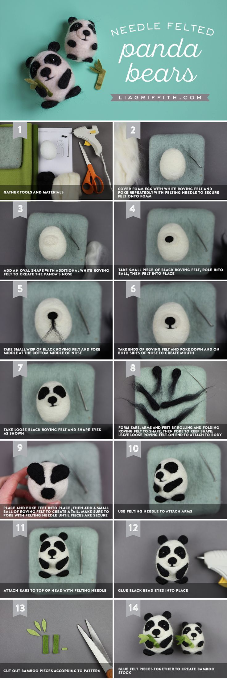 Panda Pals  What's black, white, and cute all over? These adorable needle felted panda pals. Crafting your own is super simple. We'll guide you through it here https://liagriffith.com/needle-felted-panda-pals/ * * * #panda #pandas #needlecraft #needle #felt #feltcute #needlefelting #needlefelt #diy #diycraft #diycrafts #diyproject #diyprojects #diyidea #diyideas #madewithlia
