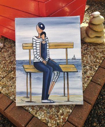 Un tableau du bord de mer représentant un couple d'amoureux réalisé à la peinture acrylique   sur une toile coton monté sur châssis de dimensions: 30 cm x 40 cm  Le tout  - 20297150