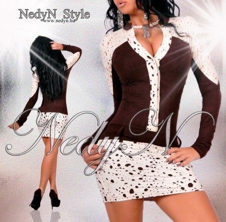 NedyN szarvasbőr hatású barna.  krém színű női ruha  S-es