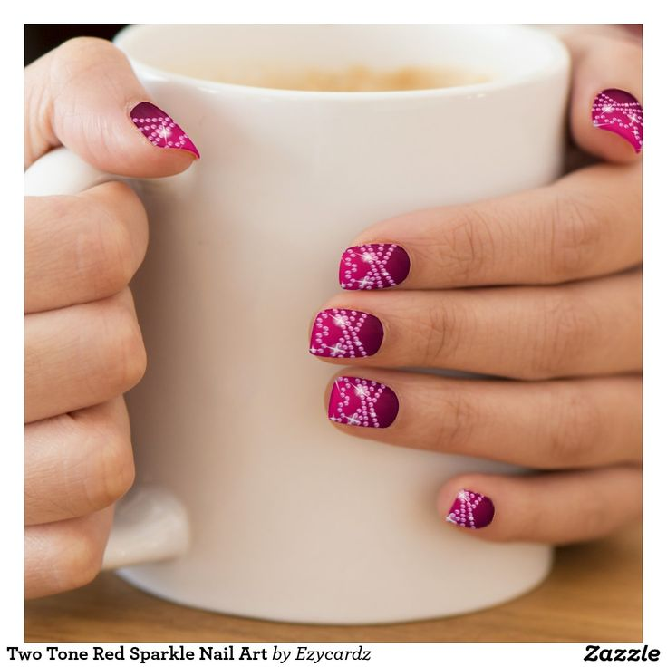 Two Tone Red Sparkle Nail Art