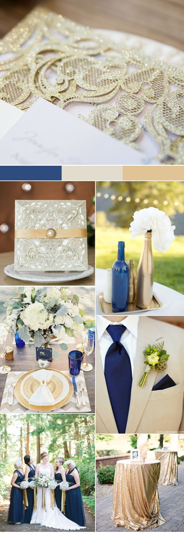 elegant traditional navy and gold country wedding colors