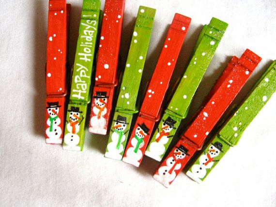 8 SNOWMEN CLOTHESPINS magnets hand painted red by SugarAndPaint