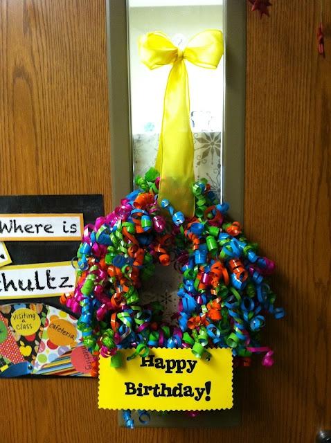Birthday wreath for teachers :) now I want all the teachers birthdays at my husbands school!!'