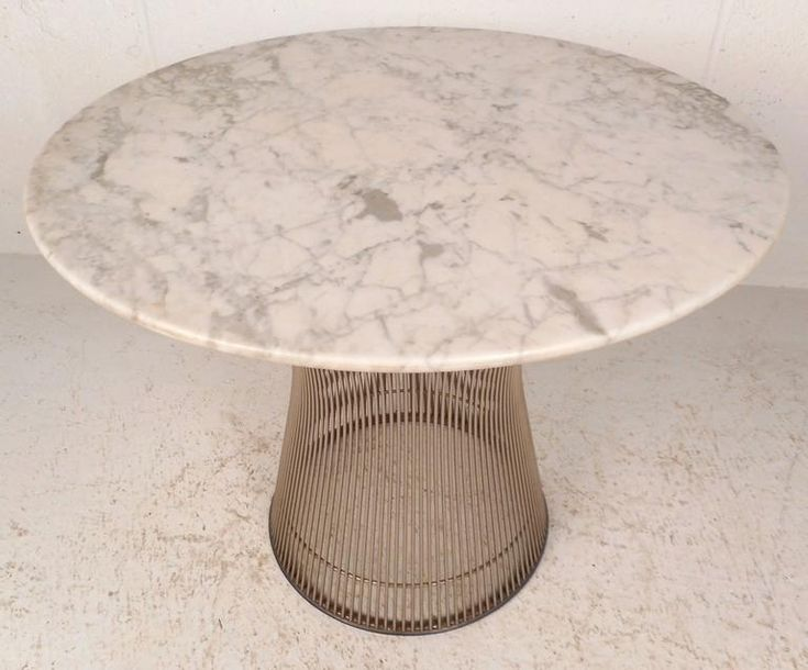 Mid-Century Modern Marble-Top End Table by Warren Platner 2
