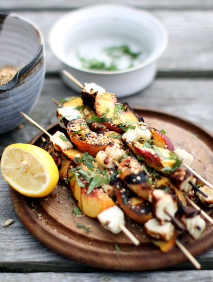 Grilled Halloumi and Nectarine Kebabs with Honey - MissFoodie