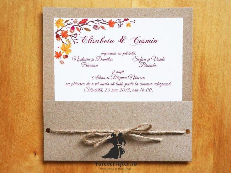 Invitatie de nunta Toamna rustica | ForeverAfter.ro