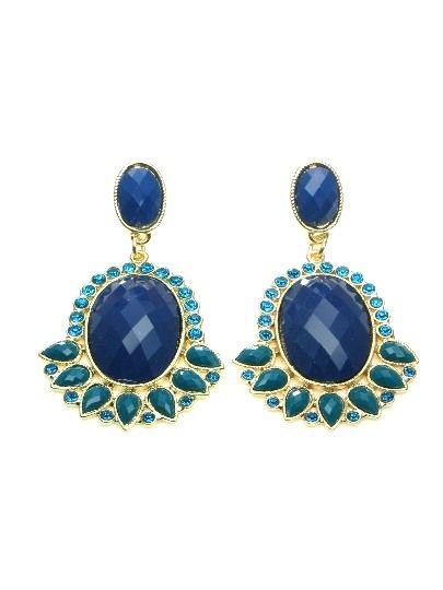 Blauwe oorbellen met facet acrylaat kralen €6,95 per paar #oorbel #earring