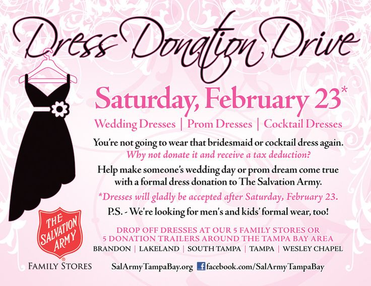 help make wedding or prom dream come true with a donation to the salvation army