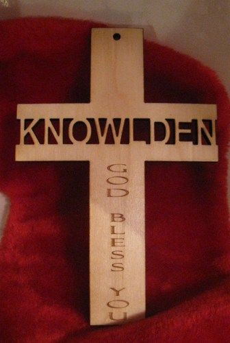 Personalized wooden cross sign for christening, communion, confirmation etc. | MackleyEngraving - Housewares on ArtFire