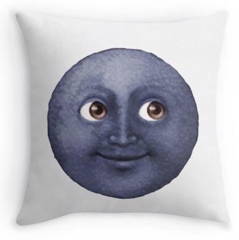 Moon face emoji pillow