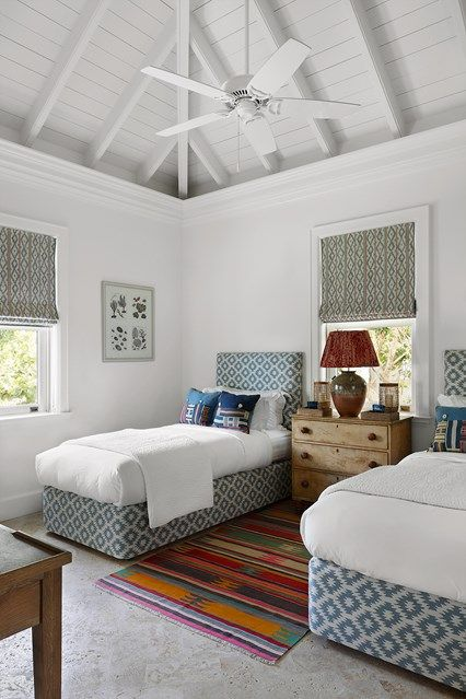 Twin white bedroom - Kids Bedroom Ideas on HOUSE - design, food and travel by House & Garden. Bahamas beach house with a British sensibility and interiors that are not 'too beachy'.