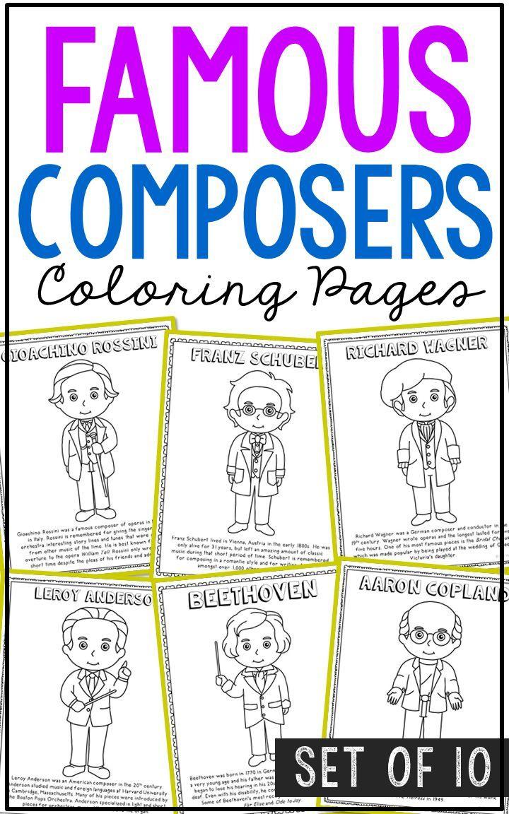 Famous Composers Coloring Pages Crafts Mini Books Interactive