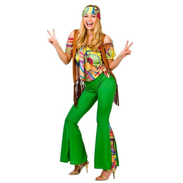 Adult-60s-70s-Groovy-Lady-Hippy-Flower-Power-Womens-Ladies-Fancy-Dress-Costume