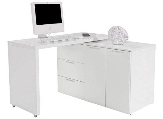 Moderní psací stůl, bilý lakovaný. Se 3 zásuvkama a 2 dveřma. Deska stolu je otočná o 360 stupňů, na kolečkách. Š/V/H: 120/76/50 cm.