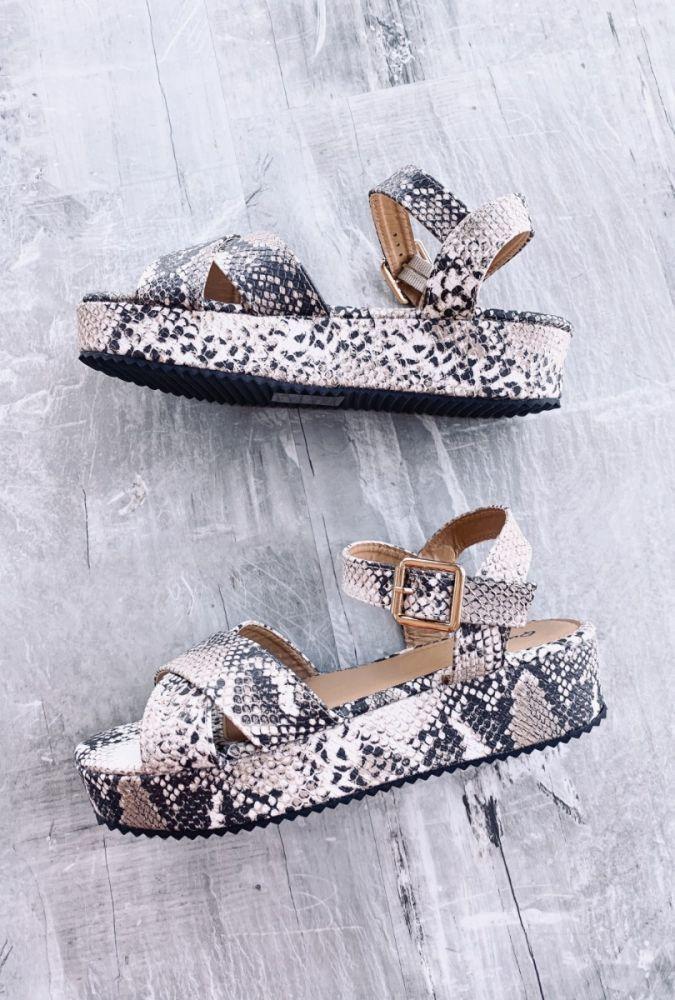 Carson Snakeskin Platform Sandals