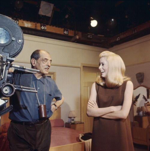 Catherine Deneuve with Luis Bun–uel on the set of  the film 'Belle de jour', 1967. (Photo by Manuel Litran)