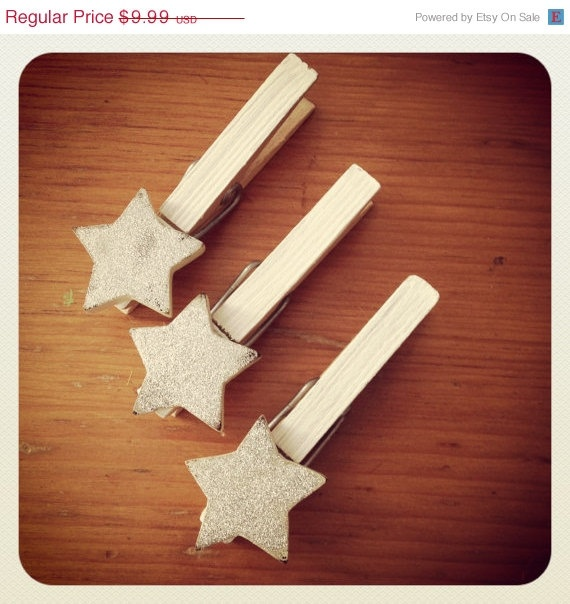 SALE - Decorative Clothespins - Silver Glitter Star Clothes Pins - Shabby Chic - Holiday Christmas